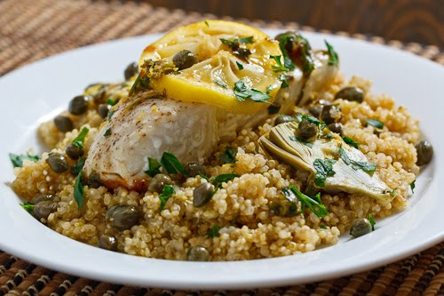 Halibut Piccata with Baby Artichokes on Quinoa