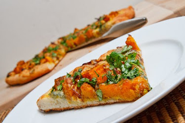 Curried Roasted Butternut Squash Pizza with Caramelized Onions and Gorgonzola