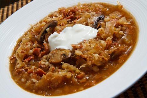Ham and Mushroom Sauerkraut Soup