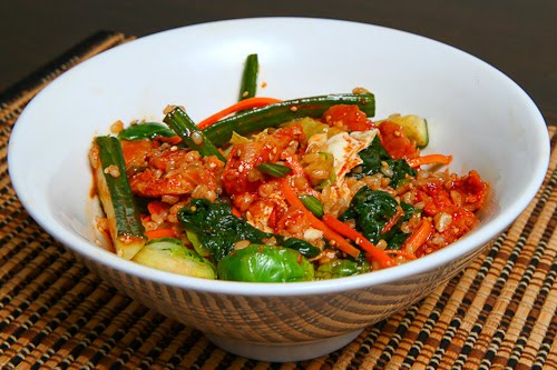 Spicy BBQ Chicken Bibimbap, Mixed