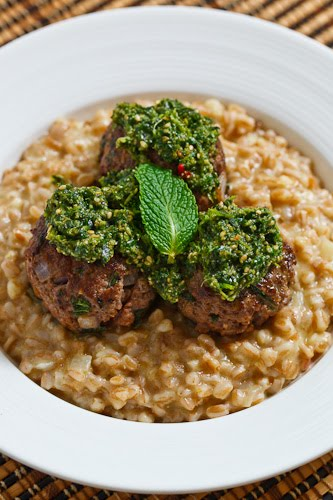 Lamb and Mint Meatballs with Farro Risotto and Cilantro Pesto