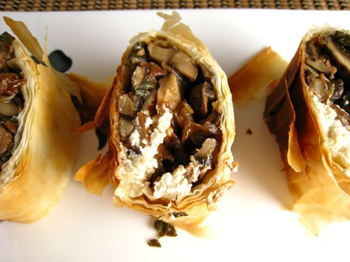 Mushroom and Goat Cheese Strudel with Balsamic Syrup