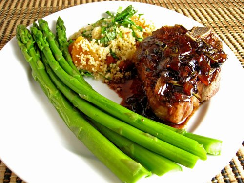 Lamb Chops with Pomegranate and Red Wine Sauce: Meal
