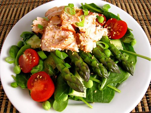 Teriyaki Salmon and Asparagus, Spinach Salad