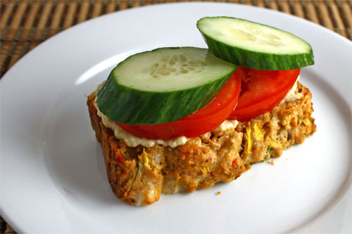Zucchini Bread with Roasted Red Peppers and Feta with Hummus, Tomatoes and Cucumbers