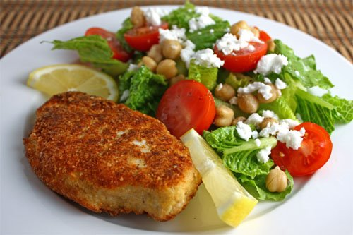 Parmesan Chicken with Salad