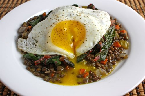 Fried Egg on Lentils and Greens
