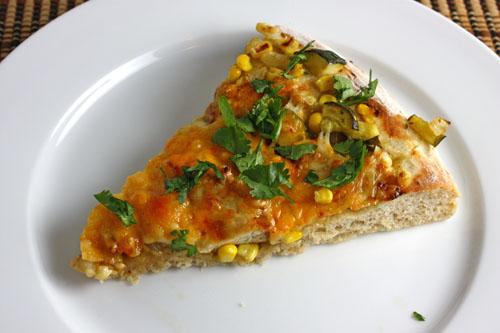Corn, Zucchini and Chicken Pizza - Slice