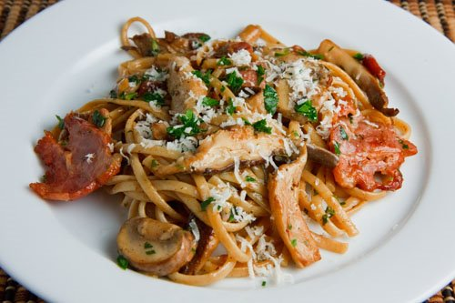 Wild Mushroom and Double Smoked Bacon Linguine