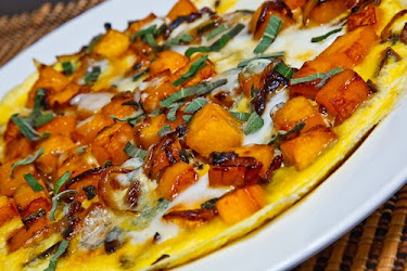 Butternut Squash and Caramelized Onion Omelette with Gorgonzola and Sage