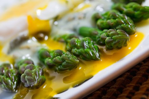 Asparagus with a Poached Egg in a Dill and Caper Avgolemono Sauce