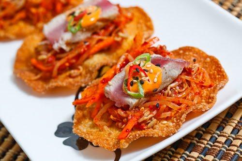 Bean Sprout Kimchi Ahi Tuna Tostadas
