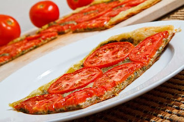 Tomato and Basil Pesto Parmesan Tart