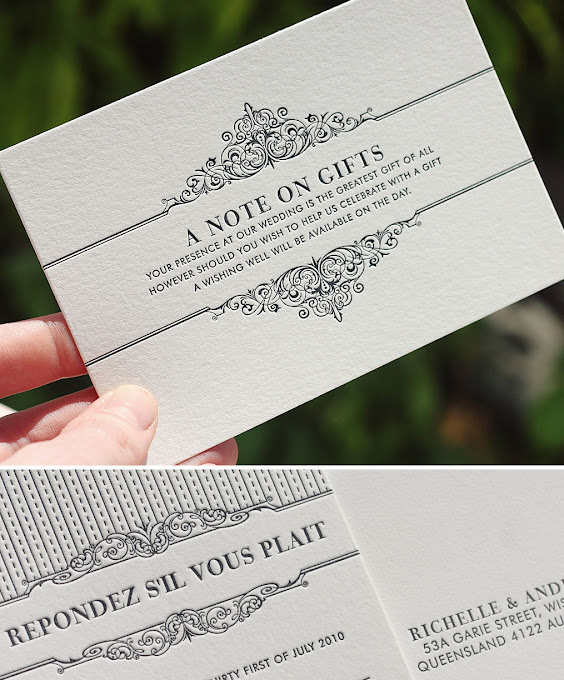 Monetary Gift For Wedding Invitation: Bespoke Press: Richelle & Andrew Wedding Stationery