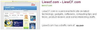 Liewcf, July 2008, Alexa traffic ranking