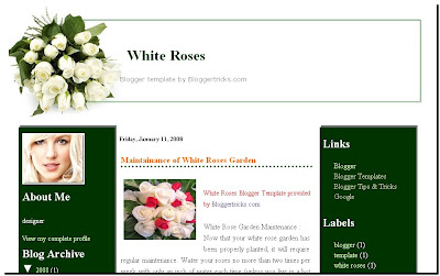 white roses blogger template