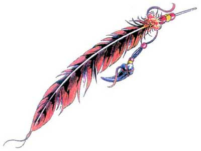 A single feather Tattoo Design, the Native American (Indian) symbol.