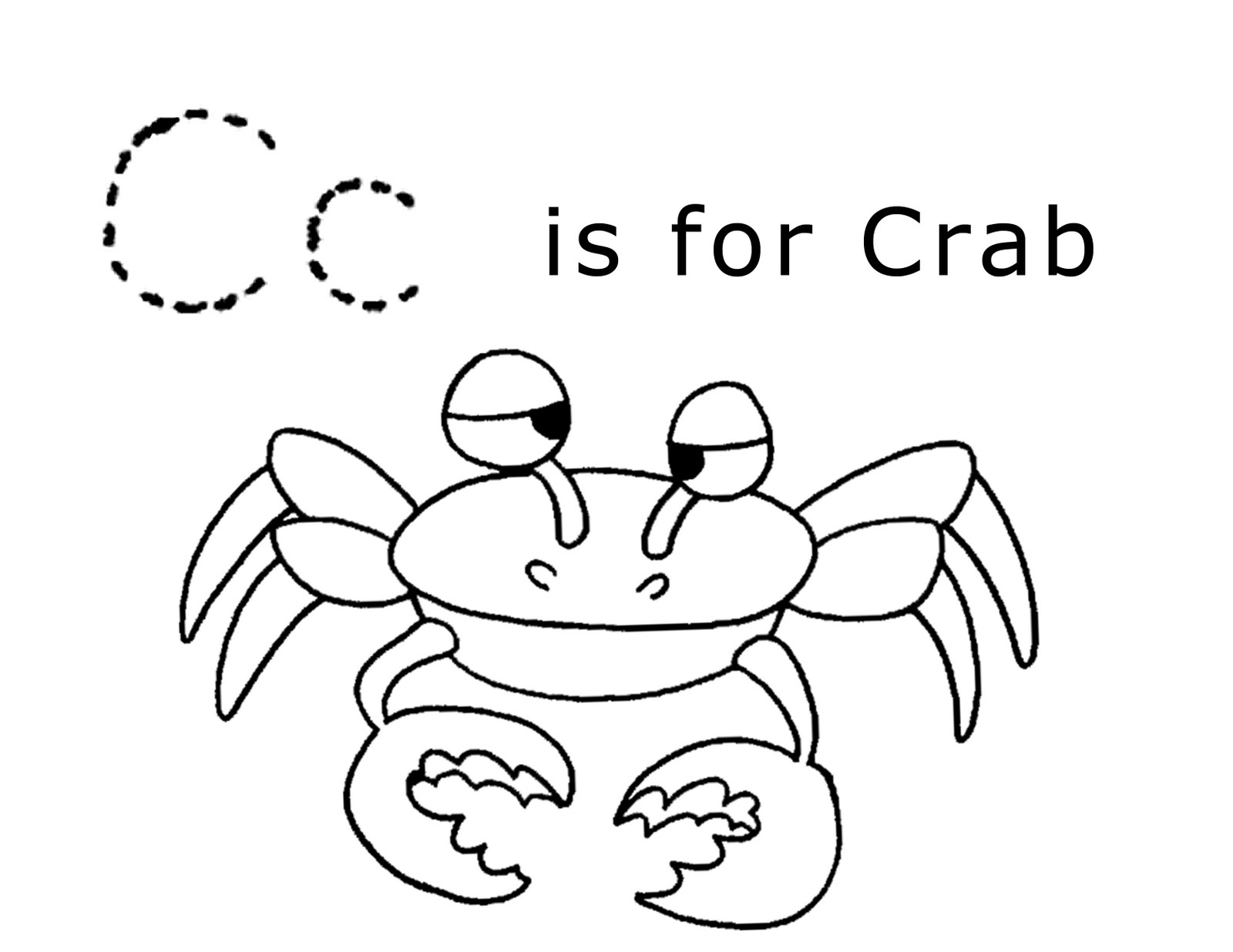 Lawteedah letter c crab for Coloring pages for the letter c