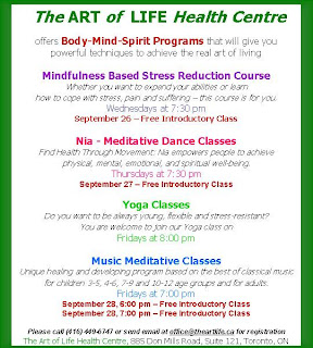 The Art of Life Health Centre Body-Mind-Spirit Program Schedule 2007–2008