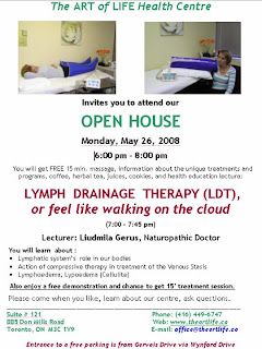 The Art of Life Health Center: Our New Treatment: Lymph Drainage Therapy: Open House