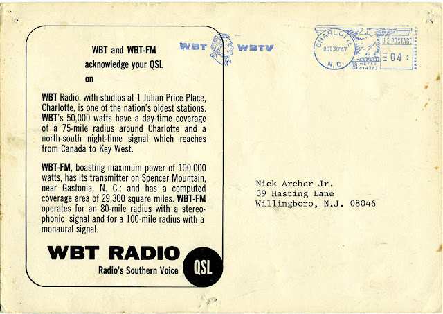 Nick's Radio Corner: WBT Charlotte NC QSL Card