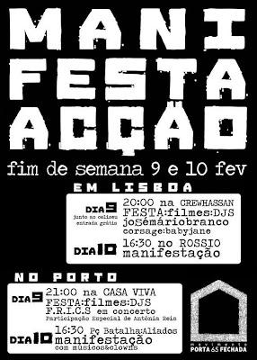 Cartaz do fim de semana de contestação promovido pelo movimento Porta 65 Fechada