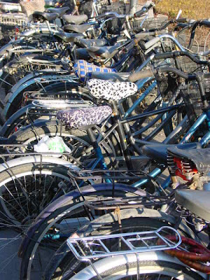 Bicycle parking outside Jianguomen Subway Station.