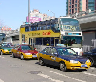 Beijing Taxis and Double-decker Bus