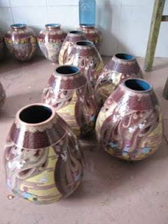 Cloisonne pots in Beijing.