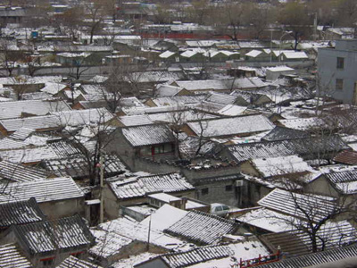 The view of neigorhood hutong rooftops from the Bell Tower, Beijing