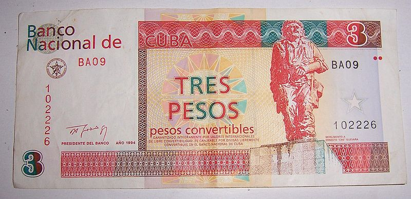 Three Cuban Convertible Pesos Cuc Worth 3 Usd