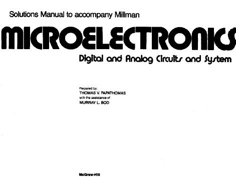 EBOOKS FREE DOWNLOAD: Solution Manual Microelectronics 1st