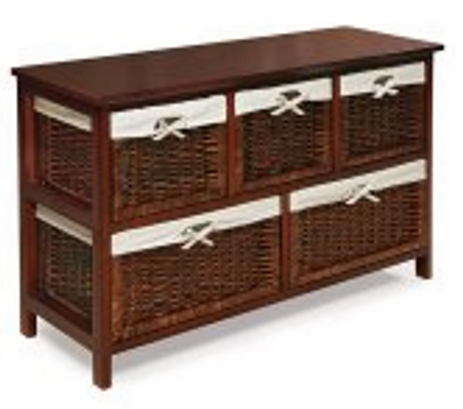Storage Unit with Wicker Baskets