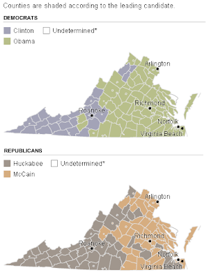 VA counties/primary results/NYTimes