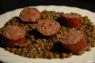 recettes  Lentilles aux Saucisses et lard fumé  au Cookin