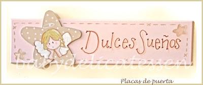 placa de puerta infantil Dulces sueños angelito de la guarda babydelicatessen
