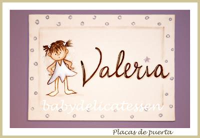 placa de puerta infantil hada traviesa nombre Valeria babydelicatessen