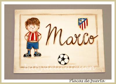placa de puerta infantil futbolista Atlético de Madrid babydelicatessen