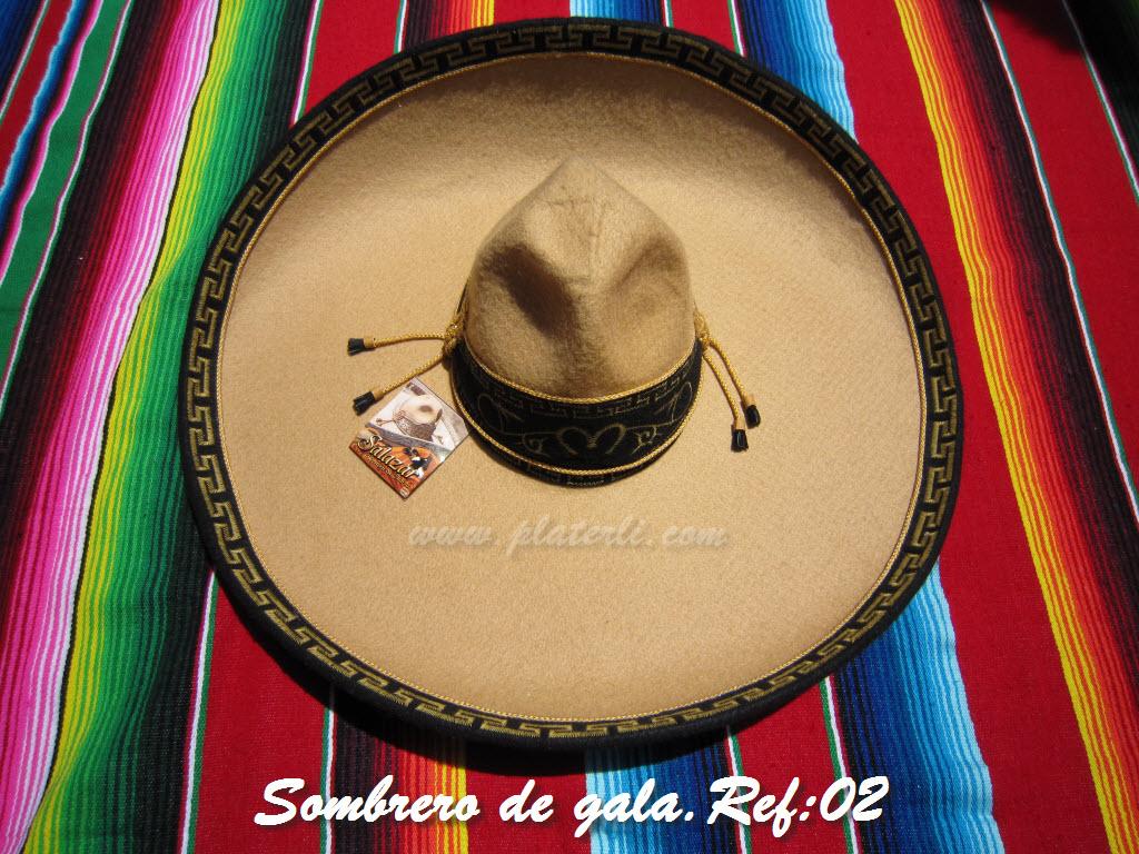 Sombreros Mexicanos  Sombrero charro de gala de fieltro bordado con ... b02edf0ec0d