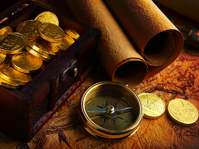 compass and gold chest