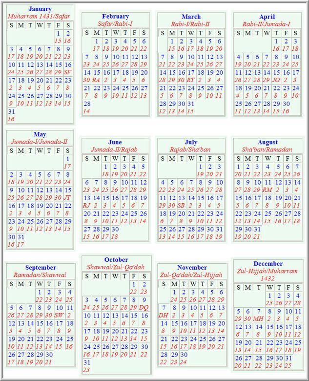 Tabular Islamic Calendar | Pics | Download |