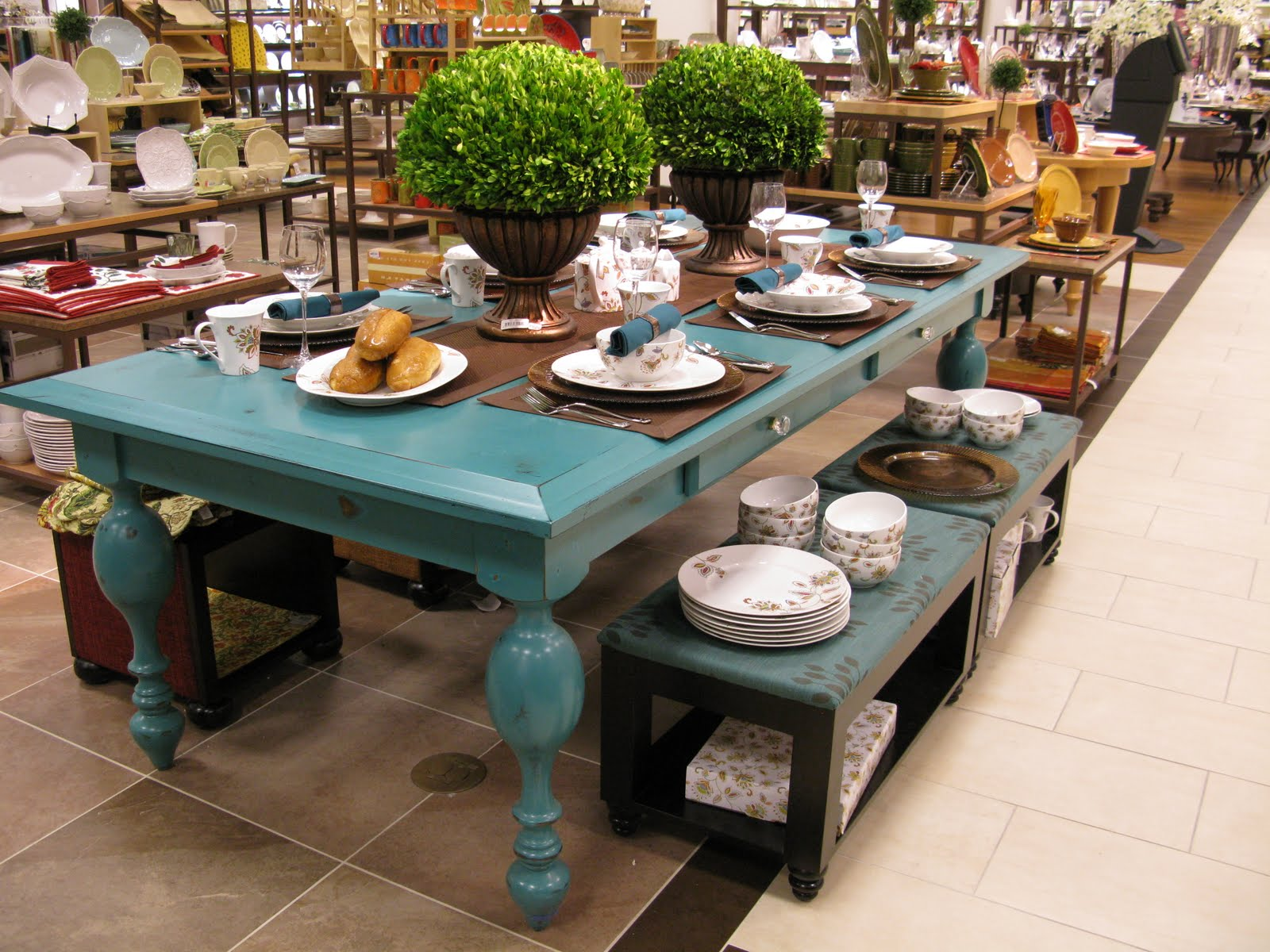 Rustic Turquoise Dining Table