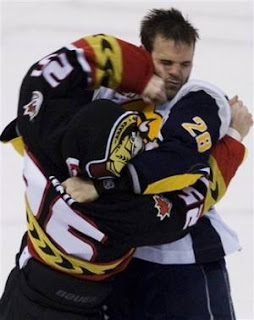 Chris Neil vs Paul Gaustad