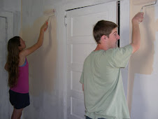 Tate & Allison...are in a race to get this wall done!!!