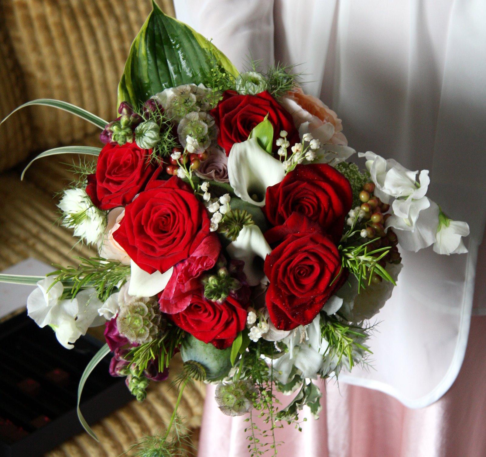 Romantic Red Rose Wedding Flowers