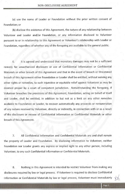 Nithyananda Agreement paper with lady devotee- page 5