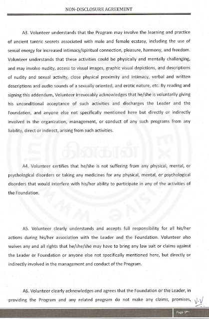 Nithyananda Agreement paper with lady devotee- page 9