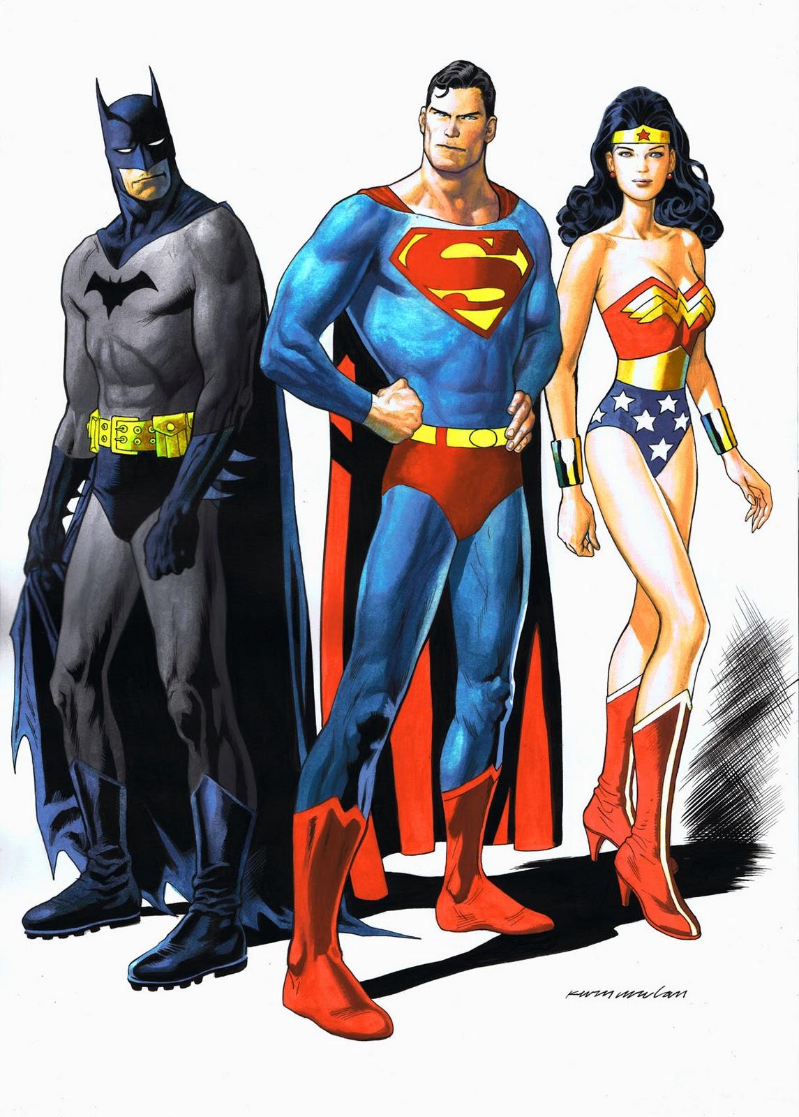 Kevin Nowlan: Batman, Superman & Wonder Woman painting