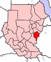 خريطة توضح موقع ولاية النيل الازرق في السودان والمتاخمة للحدود السودانية- الأثيوبية
