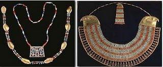 ancient egyptian jewelery holding amulets